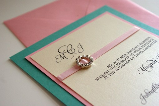 tiffany blue and pink wedding invitation design ideas