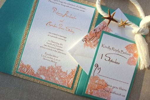 tiffany blue and pink wedding invitation design