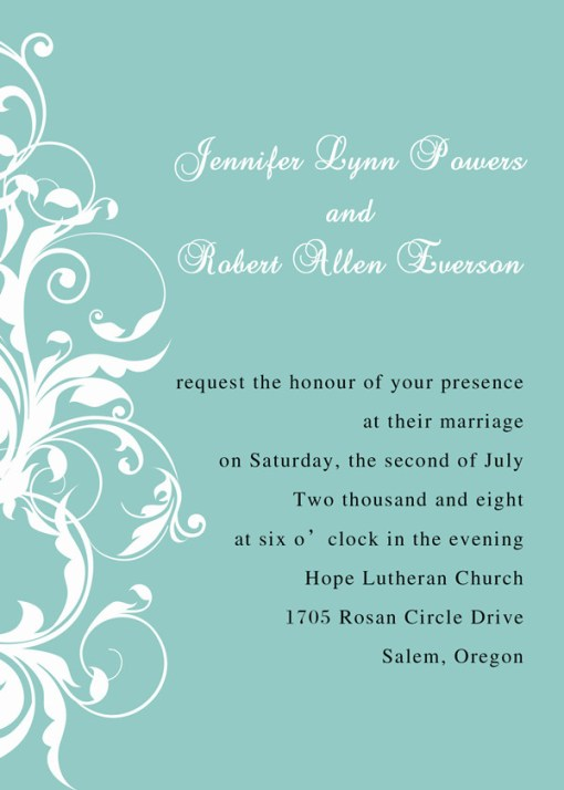 tiffany blue wedding invitation design