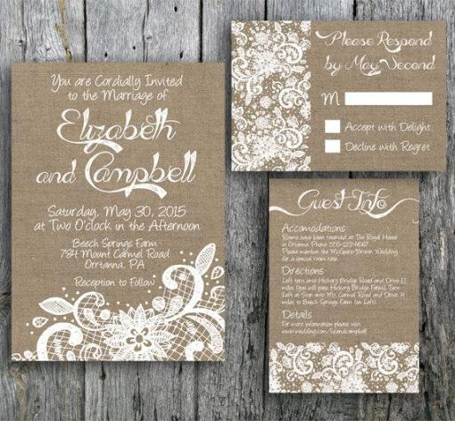 unique burlap and lace wedding invitations