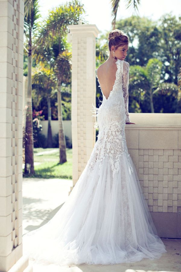 floor length wedding dress with long sleeves and open back
