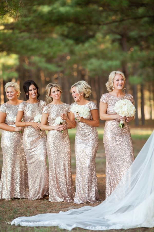 glitter gold bridesmaid dresses