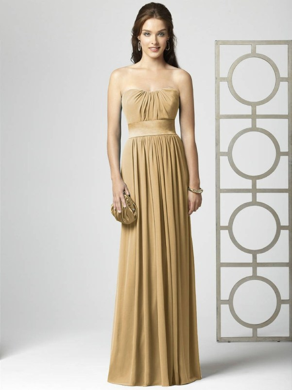gold chiffon bridesmaid dress