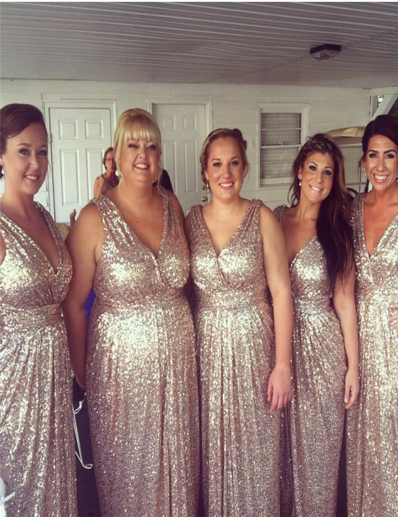 Gold sequin bridesmaid dresses with v neck sang maestro gold sequin bridesmaid dresses with v neck ombrellifo Images