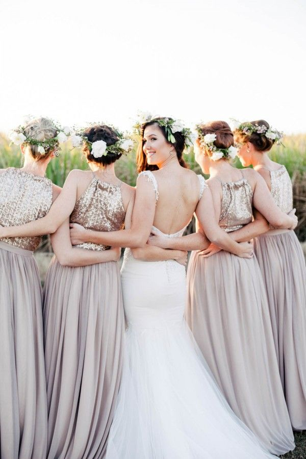 sleeveless glitter gold bridesmaid dresses