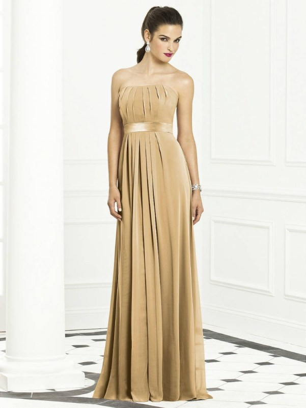 strapless gold chiffon bridesmaid dress