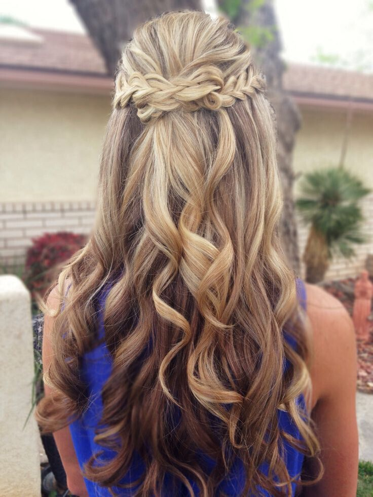 blond prom hair half up half down with curls