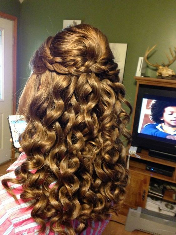 prom hairstyle blond curly long down