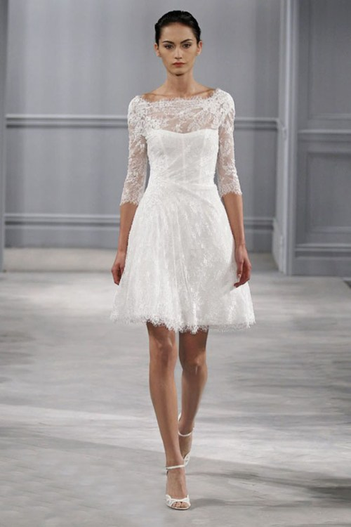 short white lace wedding dress with sleeves