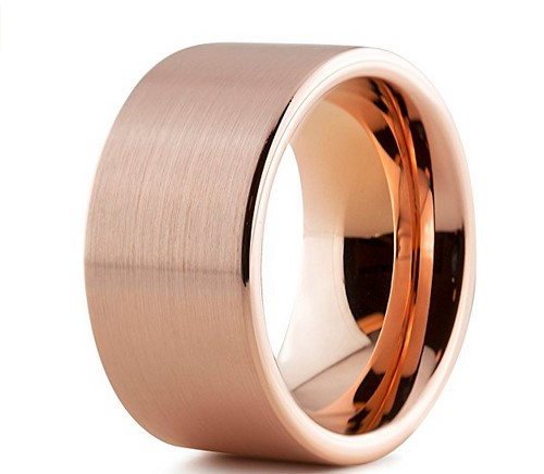 12mm mens 12k rose gold wedding band