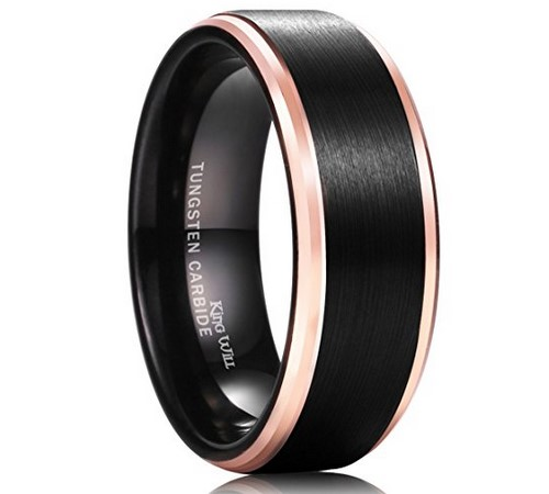 black matte rose gold mens wedding band