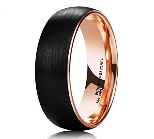 matte black tungsten carbide rose gold mens wedding band
