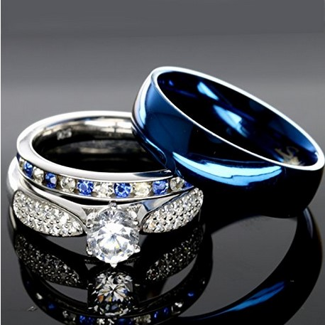 men and women sterling silver wedding band set