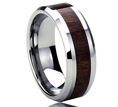 men's wood grain titanium wedding band