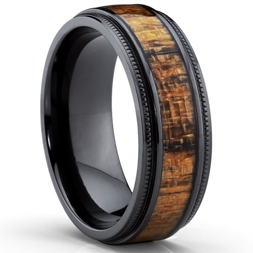 men's wood grain wedding band