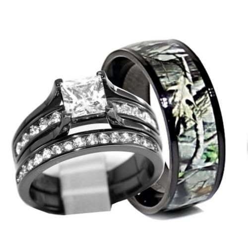 women black titanium camo wedding ring