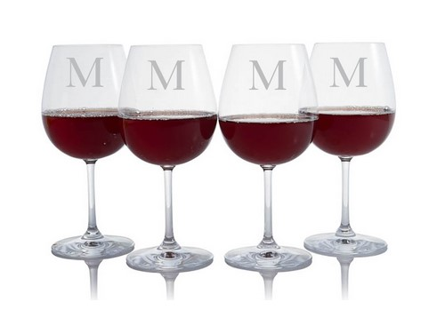 engraved and monogrammed crystal glass set