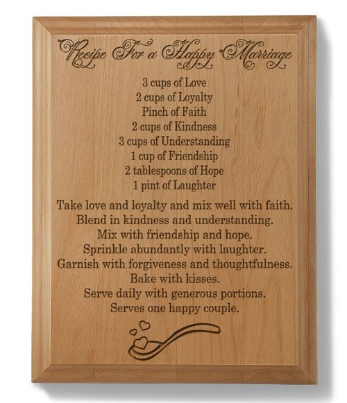 wooden plaque with happy marriage recipe
