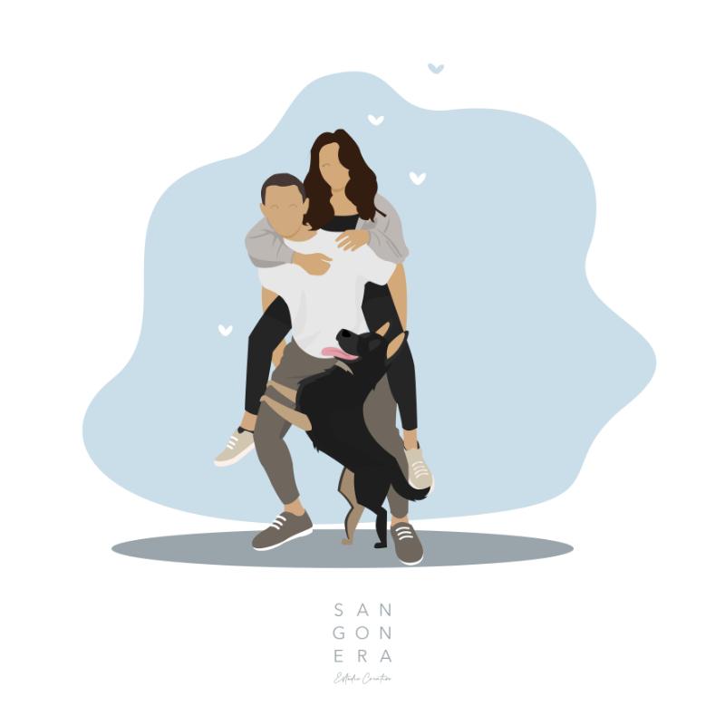 Pareja de enamorados, novios y perro, Ilustración Personalizada Digital, Sangonera Design