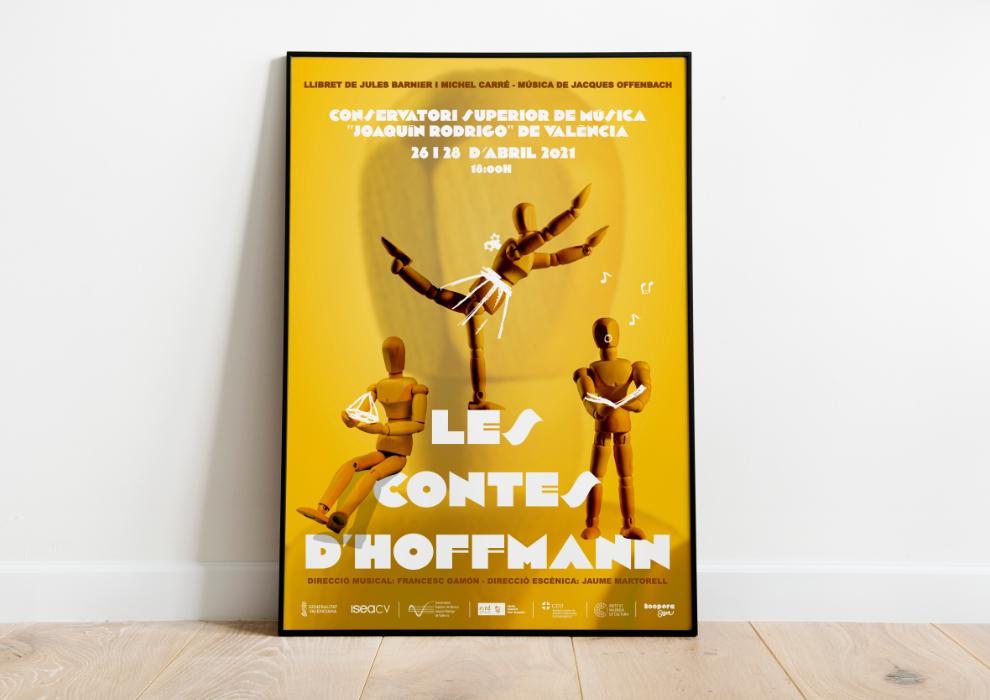 Cartel de opera Les Contes D'Hoffmann enmarcado, Los cuentos de Hoffmann, Conservatorio Superior Joaquín Rodrigo de Valencia, Sangonera Design