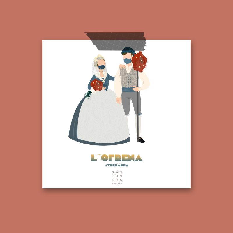 Dibujo Falleros, Fallas Valencia, Personalizada, L'ofrena, tornarem, Sangonera Design