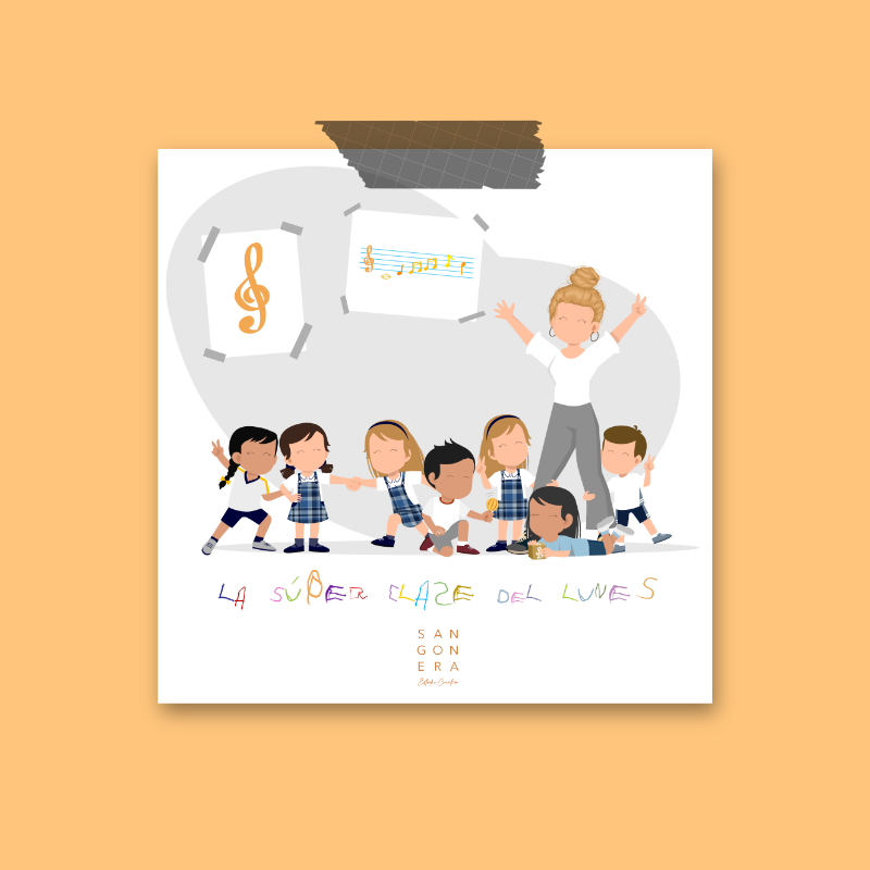 Ilustacion Personalizada digital, dibujo clase de música, profesora, niños, la super clase del lunes, Sangonera Design