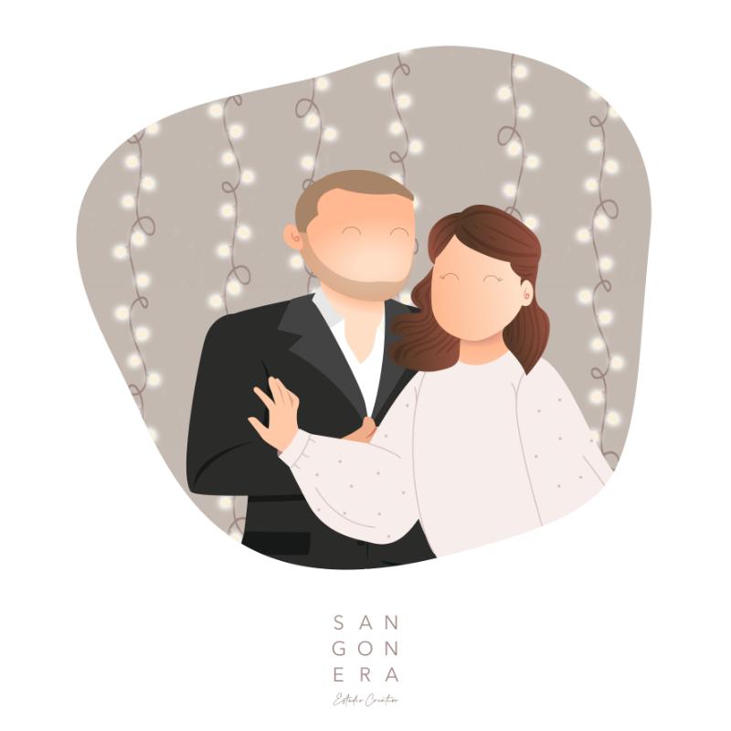 Ilustración Digital Pareja, Sangonera Design, Marido y Mujer, Dibujo Digital