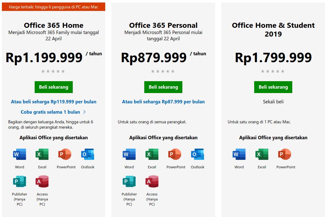 Daftar Harga Microsoft Office