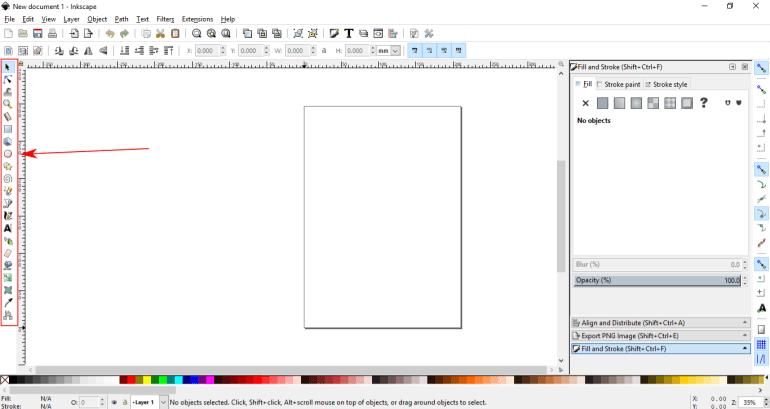 Menampilkan seluruh icon toolbox/tombol menu di inkscape