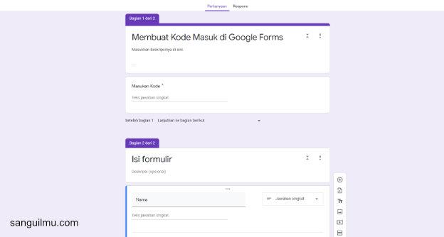 Membuat Kode Sebelum Mengisi Google Formulir |