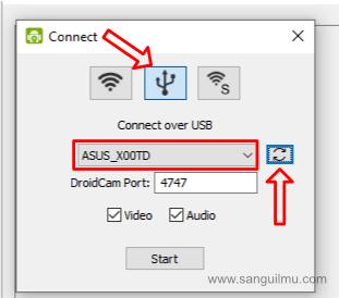 Pengaturan DroidCam di Komputer USB
