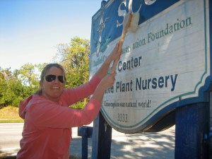 Here's a throw-back photo from 2012 of teammate cleaning the sign at the Native Plant Nursery