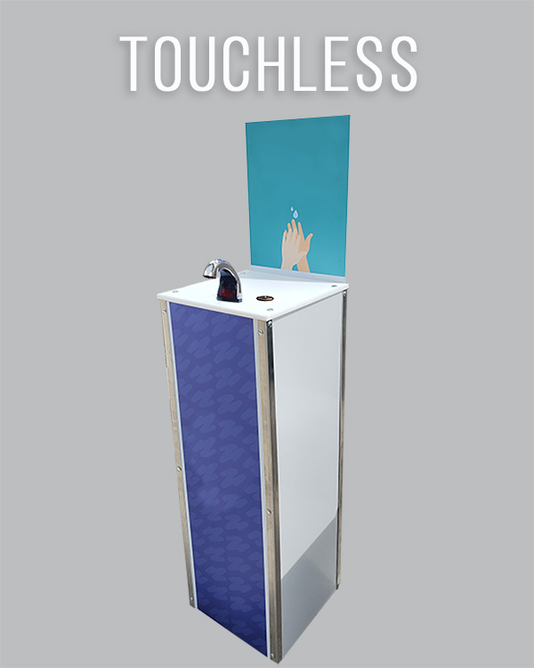 Station for hand washing. Touchless dispenser.