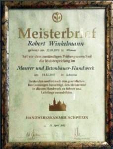 Meisterbrief Robert Winkelmann Maurer und Betonbauer Handwerk