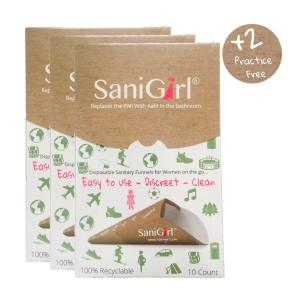 SaniGirl Eco-Friendly Disposable Urination Device. Pack of 30. Great for Travel. outdoor Recreation. Music Festivals