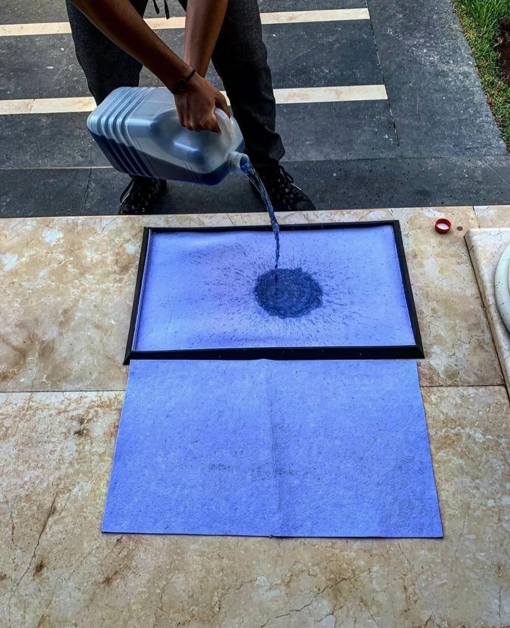 tapis desinfectant rechargeable pour chaussure bleu