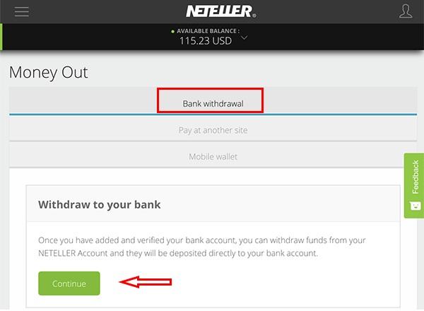 Rút tiền từ ví điện tử Neteller về tài khoản ngân hàng