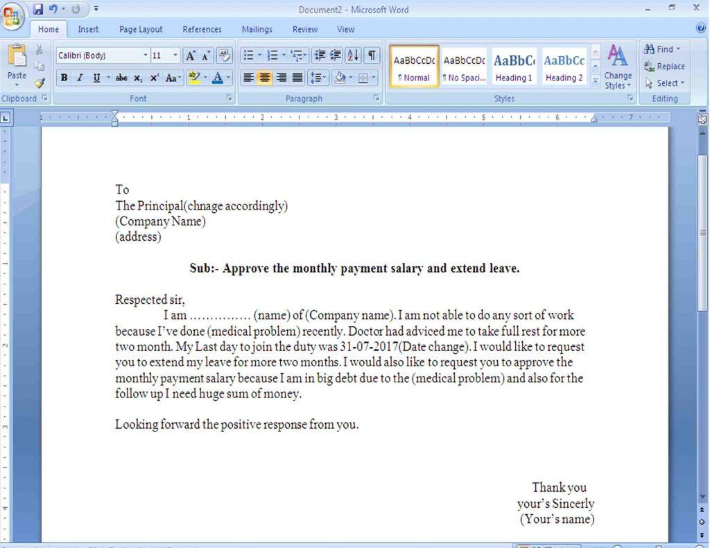 Application Letter Asking For Sick Leave
