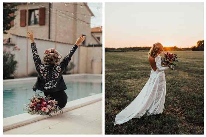 Boho nevesta s poročnim šopkom sedi ob bazenu