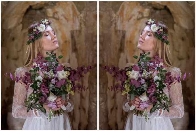 Nevesta s poročnim šopkom in venčkom za v lase iz evkaliptusa