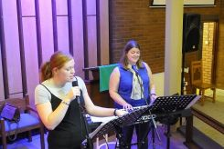New Song Warrington band: Fran, Bethany & Clare rehearsing