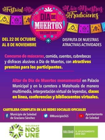 Ayuntamiento de Soledad, prepara actividades virtuales para Día de Muertos