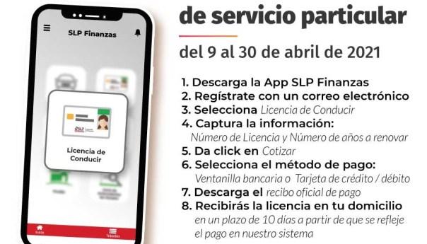 """50% de descuento en renovación de licencias de conducir a traves de la aplicación """"slp finanzas"""""""