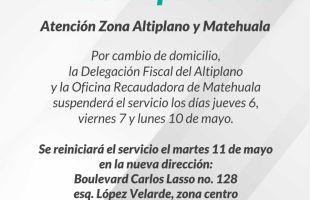 Cambia de domicilio la delegación fiscal del altiplano y oficina recaudadora de Matehuala