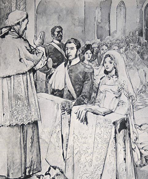 Nº31: El casamiento de S. Martín con R. de Escalada. Dibujo de Alberto Breccia - 1982.