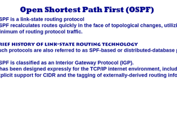 Open Shortest Path First ( OSPF ) – Introduction