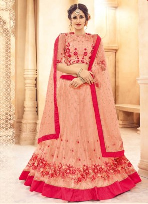 Attractive Peach Shade Embroidered Designer Lehenga