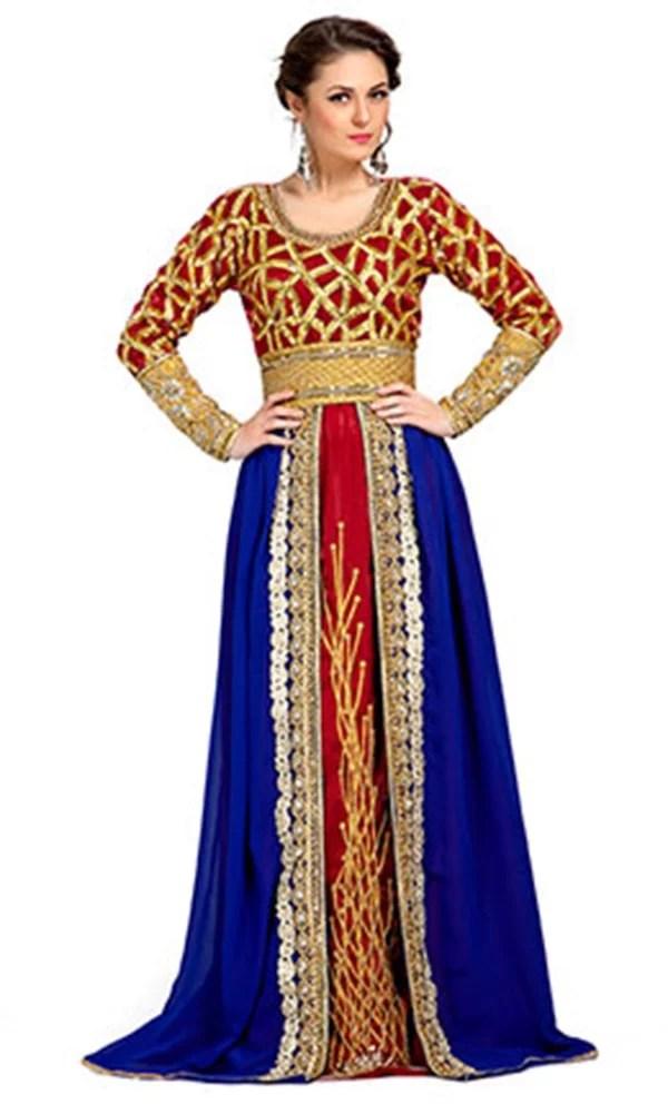 Blue and Maroon Red Color Exclusive Kaftans-Georgette Designer Kaftan
