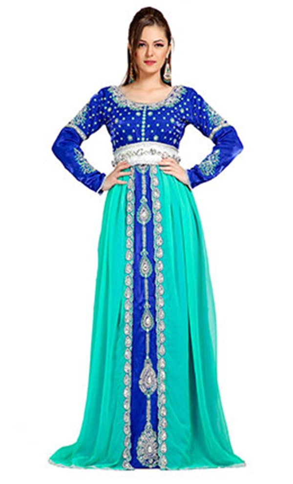 Classic Elegant Blue Embroidered Moroccan Caftans