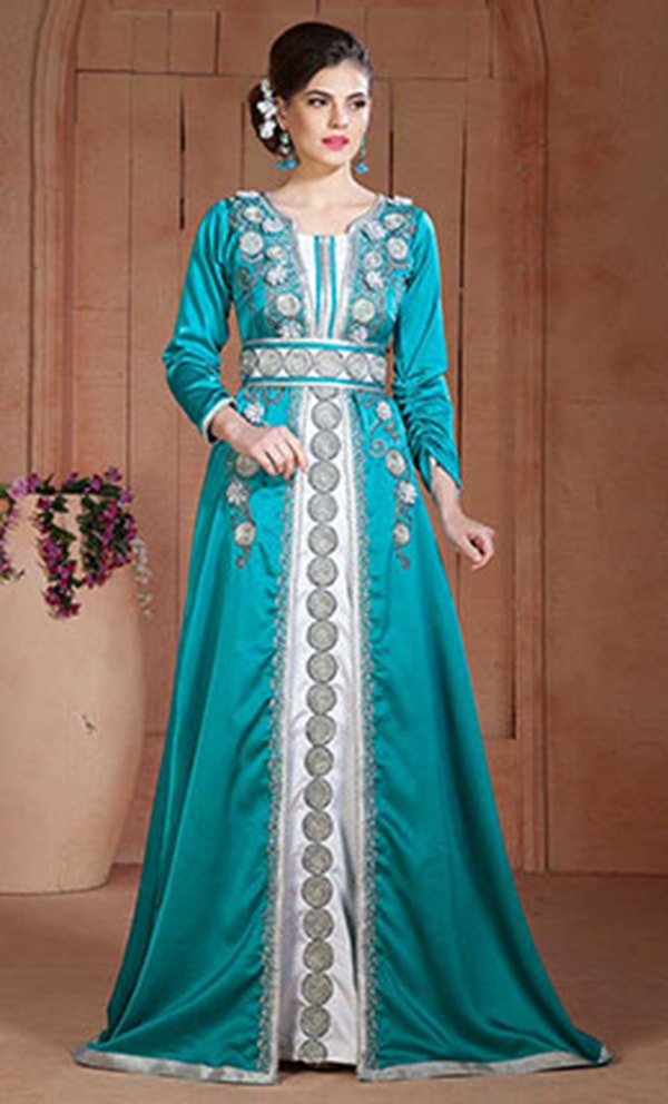 Exquisite Dark See Green and White Party Wear Handmade Kaftan